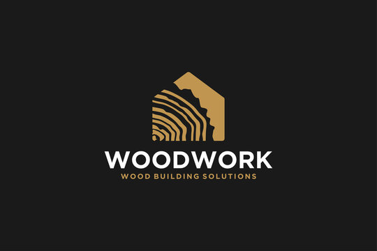 Capenter industry logo design - wood log, timber plank wood, woodwork handyman, wood house builder. simple minimalist icon.