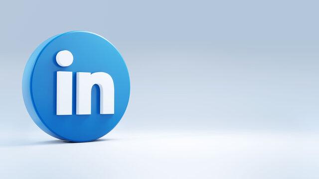 LinkedIn logo on neutral background. 3d editorial illustration.