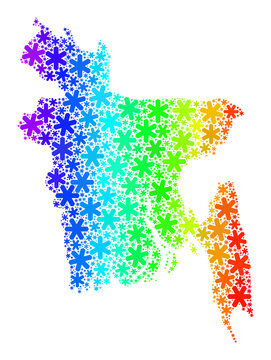 Spectral Gradient Christmas Mosaic Bangladesh Map of Snowflakes