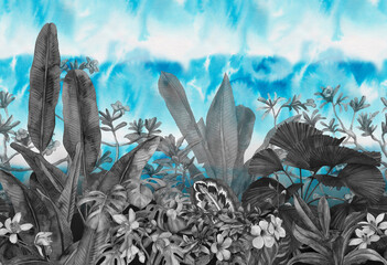tropical leaves and flowers hand-drawn by watercolor. Seamless tropical pattern. Stock illustration - fototapety na wymiar