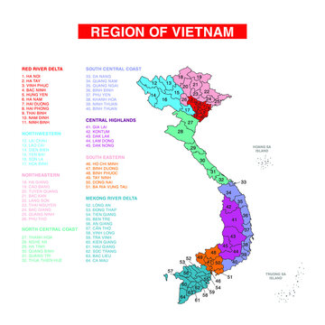 Color map of the provinces of Vietnam. Regions and prefectures. Eps10 vector illustration.