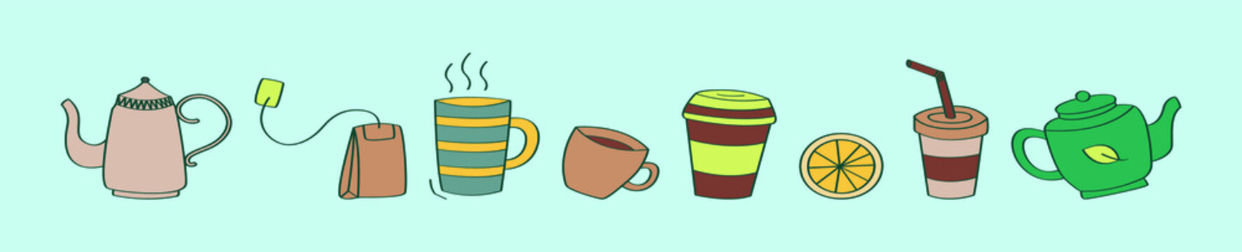 set of tea cartoon icon design template with various models. vector illustration isolated on blue background