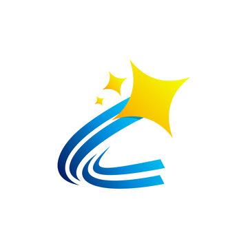 star letter c logo concept