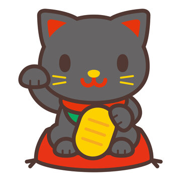 かわいい黒い招き猫 Beckoning cat-Japanese lucky cat