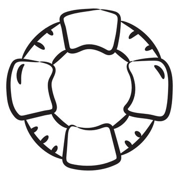 A safety tyre with air, lifebuoy doodle icon design