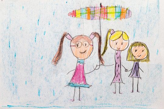 Three Girls, Umbrella and Rain