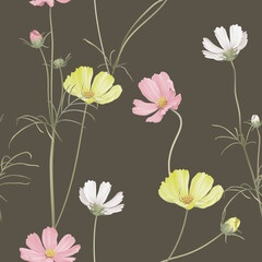 Floral seamless pattern, various cosmos flowers with leaves on dark brown