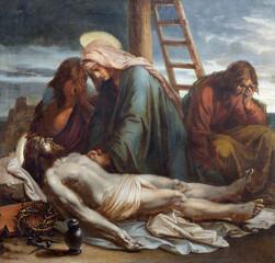 VIENNA, AUSTIRA - OCTOBER 22, 2020: The painting Deposition of the cross in church St. Johann der Evangelist by Karl Geiger (1876).