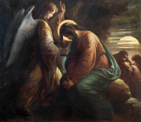 VIENNA, AUSTIRA - OCTOBER 22, 2020: The painting of Jesus in the Gethsemane garden in church St. Johann der Evangelist by Karl Geiger (1876).