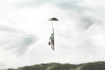 Fototapeta illustration of man flying in the sky with umbrella, surreal freedom concept