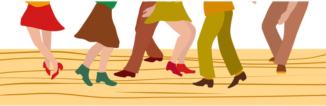 Silhouette of people dressed in vintage fashion, dancing the twist and rock and roll, vector illustration, no white, EPS 8