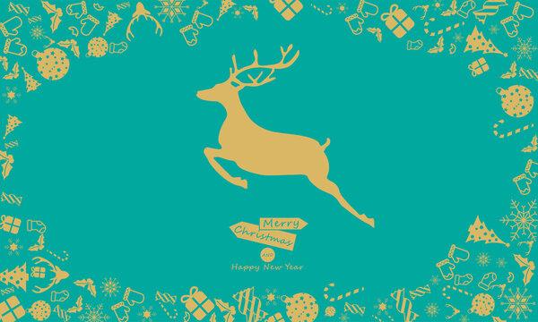 Christmas elements, leaping deer