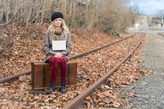 Mädchen, Koffer, Reise