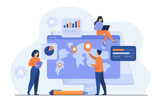 Group of professionals analyzing international map with pointers and charts. Team doing global business research. Vector illustration for marketing, analysis, worldwide extension concepts