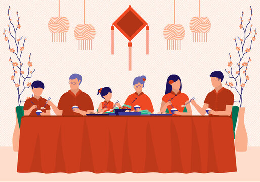 Big Chinese Family Enjoying Chinese New Year Reunion Dinner. Celebration And Festival Concept. Vector Illustration Flat Cartoon. 3 Generations Of Family Eating Meal Together.