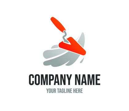 Orange spatula vector logo template for home repair service or building company. Illustration of red plastering trowel. Masonry creative icon concept. Plasterer tool vector design. Brick construction.