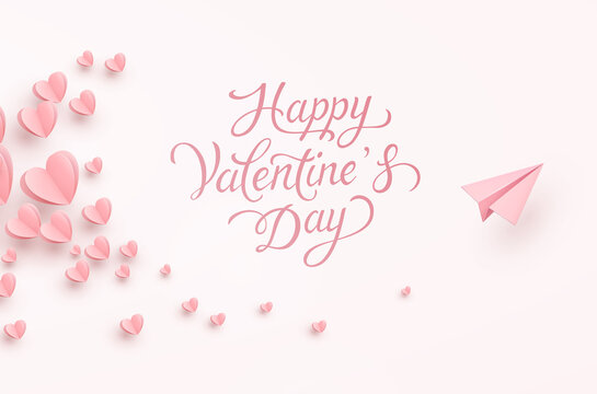 Valentine's Day greeting card. Paper flying airplane on pink background. Vector symbols of love, hearts with plane postcard