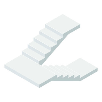 Vector illustration concrete staircase with a turn isolated on a white background. Industrial flight of stairs icon in isometric view. Isometric stair without rails in flat style. Cartoon. 3D.