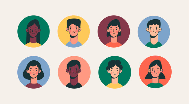 Heads and necks of boys and girls. Various haircuts. Young men and women. Colorful characters. People avatars. Hand drawn set of round Vector Icons. Cartoon style. Social media concept