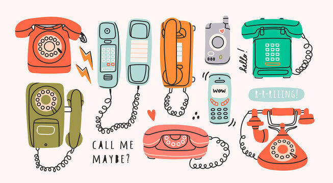 Different communication devices. Set of Various classic and modern telephones. Wire, cell and mobile  phones. Retro vintage style icons. Hand drawn Vector illustration. All elements are isolated