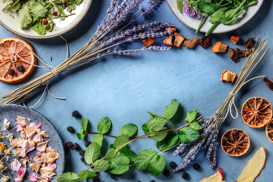Herbal tea, natural, organic, and healthy ingredients, forming a frame for copy space