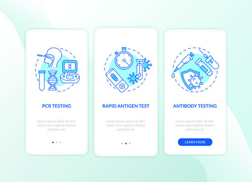 Covid testing types onboarding mobile app page screen with concepts. Antigen, antibody testing walkthrough 3 steps graphic instructions. UI vector template with RGB color illustrations