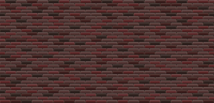 Vector texture of brick wall. Realistic brown brick wall background. Dark brick wall seamless vector pattern for replication. Bavarian masonry seamless vector pattern. Vector illustration.