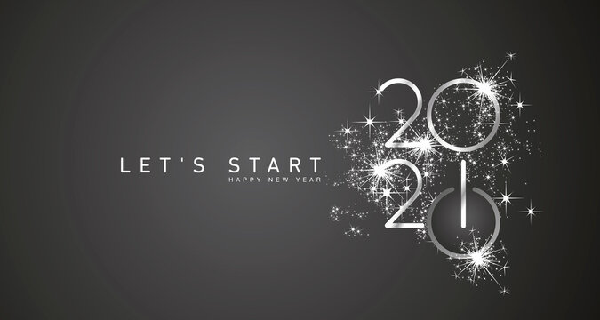 Start of Happy New Year 2021 silver white shining stars rounded typography black background banner and turn on button icon
