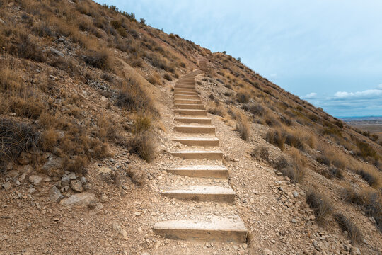Stairs leading up to Cabezo de las Cortinillas mountain