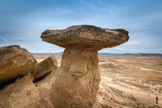Mushroom rock at Bardenas Reales, Navarre, Spain