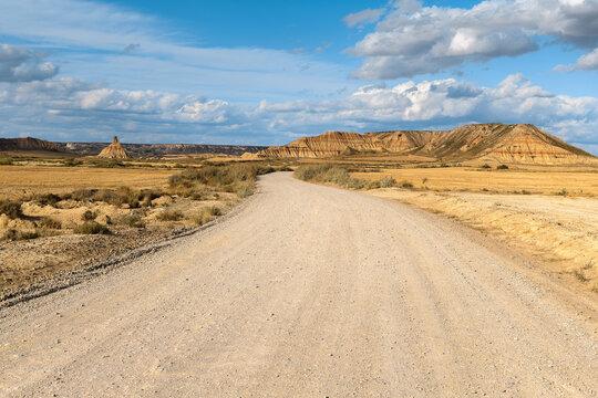 Gravel road in Bardenas Reales, Navarre, Spain