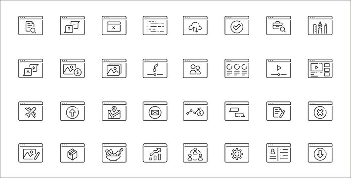 set of 32 type of website thin outline icons such as download, settings, statistics, photo editing, document, maps, streaming, social media, stock
