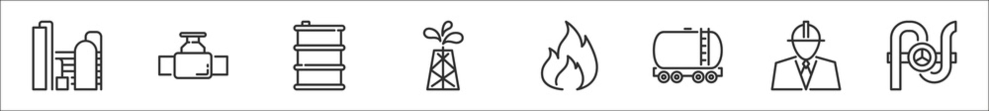 set of 8 oil and petroleum industry thin outline icons such as oil industry, faucet, oil barrel, pumps, fire, tank, engineer, faucet