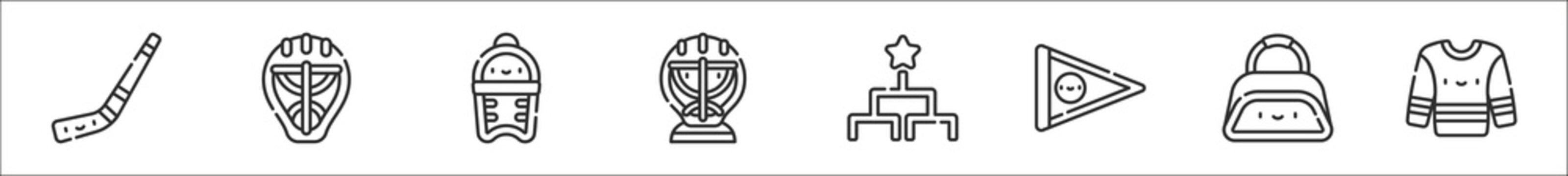 set of 8 hockey thin outline icons such as hockey stick, hockey helmet, shin guards, goalkeeper, tournament, pennant, sport bag, jersey
