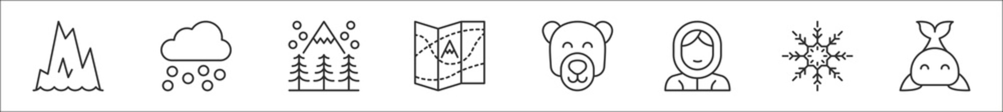 set of 8 arctic thin outline icons such as iceberg, weather, winter, map, polar bear, eskimo, snowflake, whale