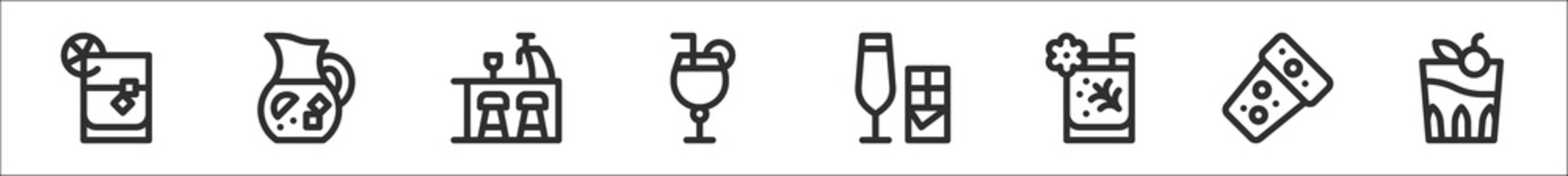 set of 8 cocktails thin outline icons such as whiskey on the rocks, sangria, bar, cocktail, cocktail, cocktail, cork,