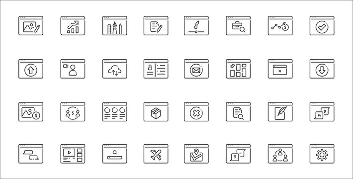 set of 32 type of website thin outline icons such as settings, faq, flight, chat, blog, contents, download, email, video call