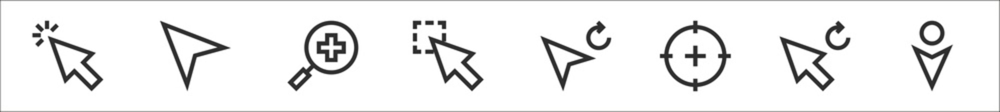 set of 8 selection and cursors thin outline icons such as cursor, cursor, cursor,