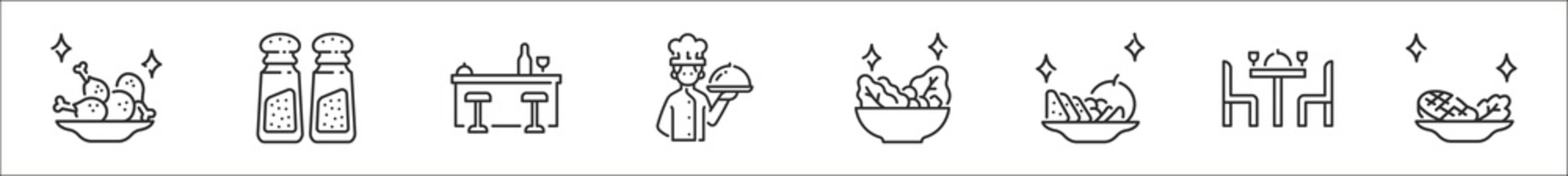set of 8 restaurants and dining thin outline icons such as fried chicken, salt and pepper, bar, chef, salad, fruits, dinner table, steak