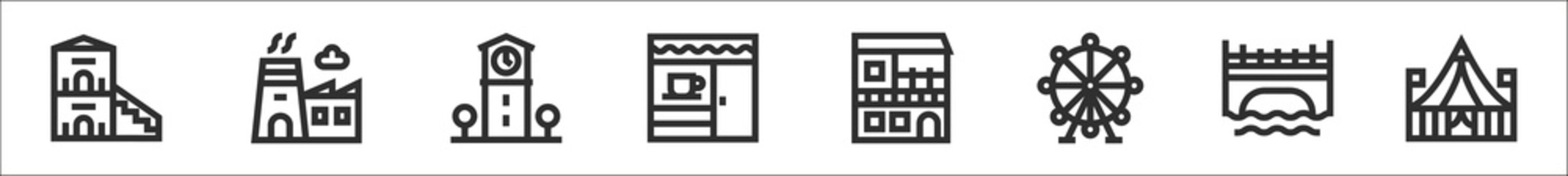 set of 8 urban building thin outline icons such as duplex, factory, town hall, cafe, house, big wheel, bridge, circus