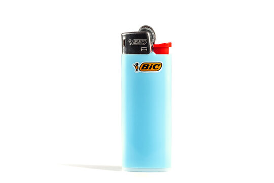 Atina,Lazio,Italy-December 22,2020:bic lighter with logo isolated on white background,illustrative editorial