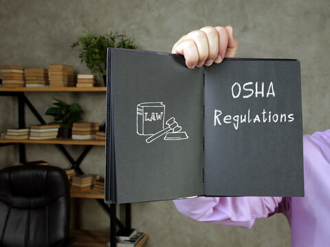 Business concept meaning OSHA Regulations with sign on the sheet.