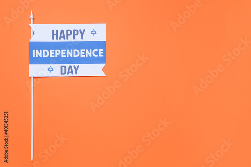 Composition for Israel Independence Day on color background