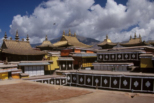 Close up of Potala Palace with golden roof and  Interior in Lhasa, Tibet, China.