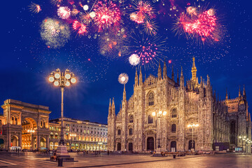 Fireworks in Milano - Italia (Milan - Italy). Duomo square during New Year's celebration