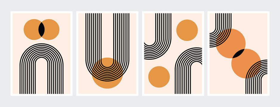 Mid century abstract contemporary aesthetic design  set with geometric balance shapes, modern minimalist artprint.