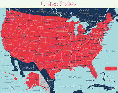 United States of America detailed editable map with cities and towns, geographic sites, roads. Vector EPS-10 file, trending color scheme