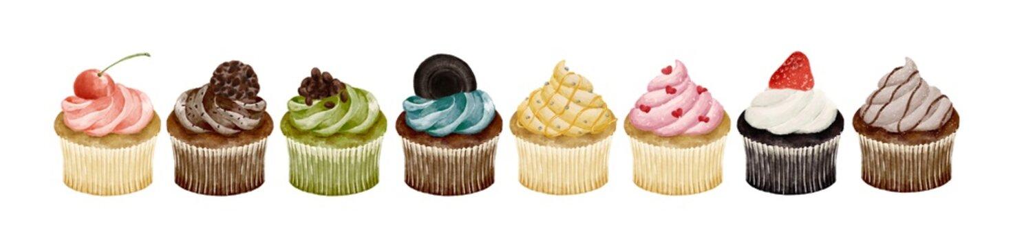 いろいろな種類のカップケーキ 水彩風イラスト