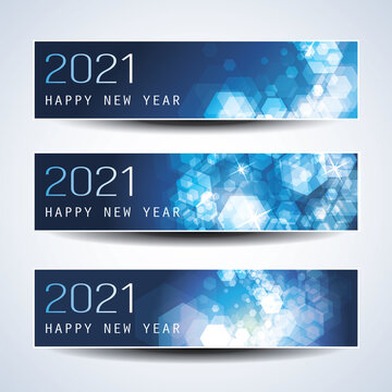 Set of Horizontal Christmas, New Year Headers or Banners - 2021