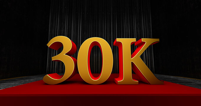 golden 30k or 30000 thank you, Web user Thank you celebrate of subscribers or followers and likes, 3D render